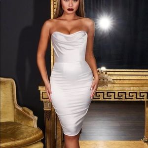 Oh Polly Luxe Bustier Strapless Satin Dress